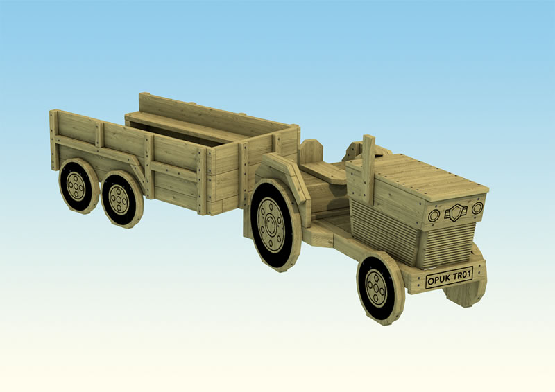 Wooden playground tractor and trailer for children
