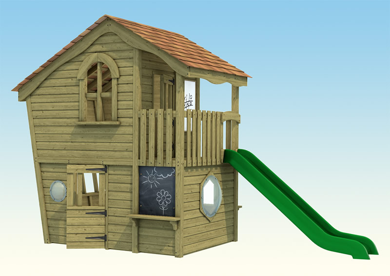 A two storey wooden playhouse for children with slide