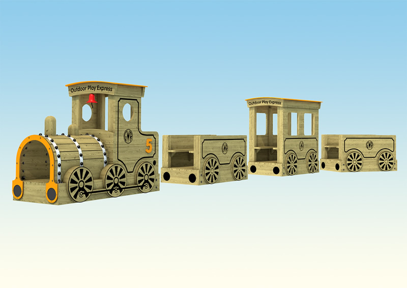 Wooden play train and carriages for children