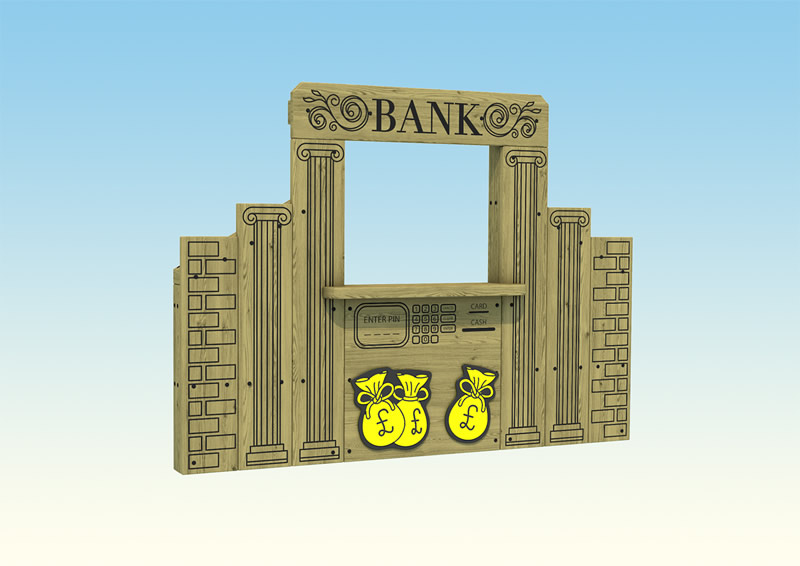 A wooden play bank for children