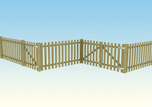 Traditional wooden picket fence for play parks