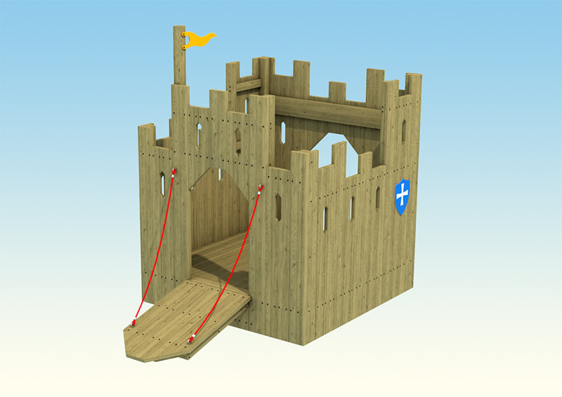 A wooden play castle for children