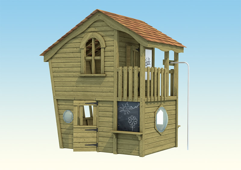 A childrens wooden play fire station