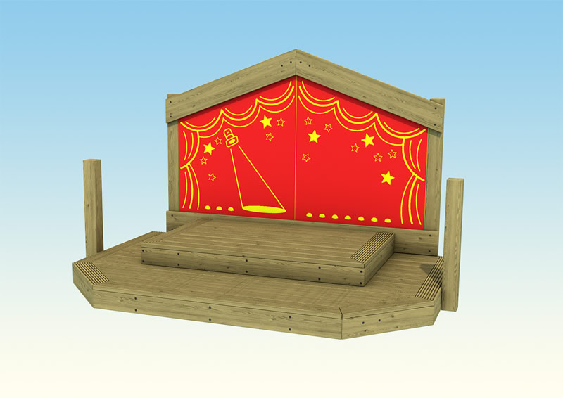 Wooden play perfromance stage for children