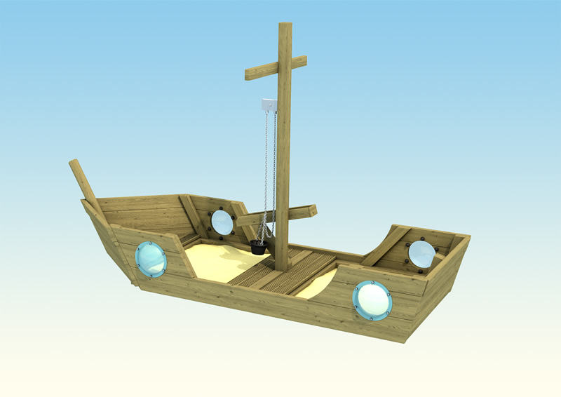 A wooden play boat for children