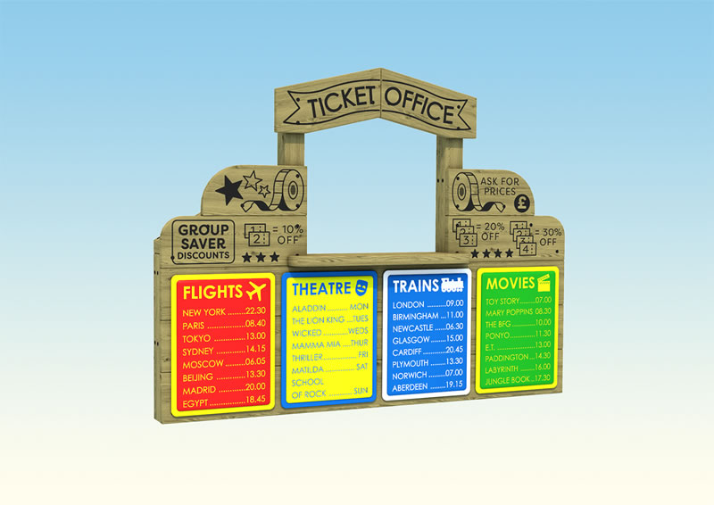 A wooden play ticket office for children