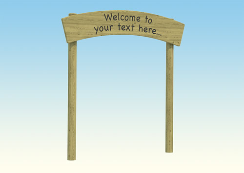 A wooden entrance archway for schools
