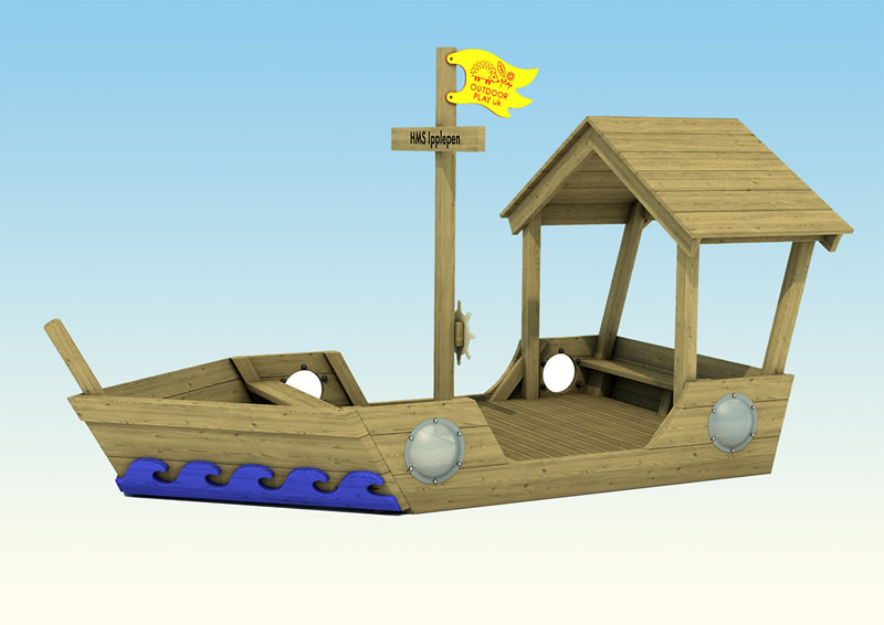 A wooden play boat for childrens outdoor play areas