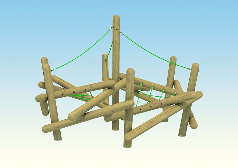 Small wooden playground climber